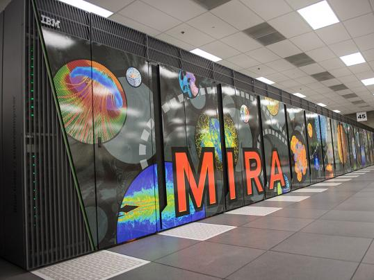 Mira, the signature supercomputer at ALCF. Image courtesy Argonne National Laboratory.