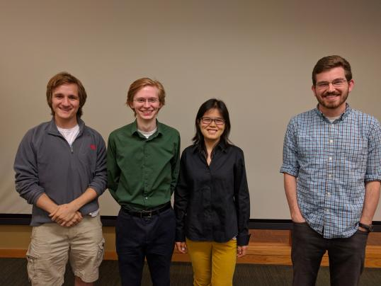 Student presenters, from left to right: Neal Jochmann, Rudyard Richter, Baixue Yao, Alex Mueller.