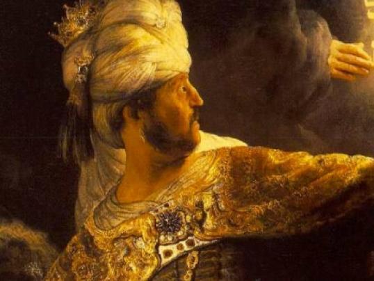Belshazzar's Feast, by Rembrandt Harmenszoon van Rijn.