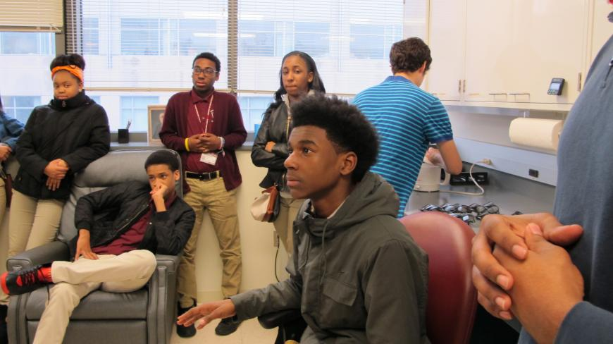 Students pay close attention at Brain Awareness Day.