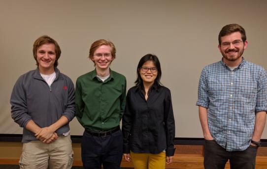 Student presenters, from left to right: Neal Jochmann, Rudyard Richter, Baixue Yao, Alex Mueller.